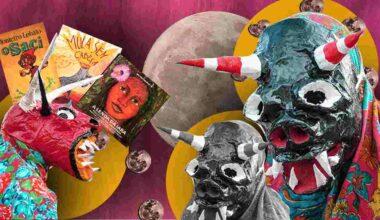 """na imagem podemos ver as """"Caretas de Acupe"""", manifestação do folclore brasileiro em que grupos folclóricos saem em quatro domingos seguintes desfilando suas mascaras."""